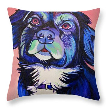 Pink And Blue Dog Throw Pillow by Joshua Morton