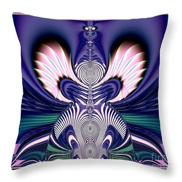 Pink And Blue Guardian Angel Fractal 99 Throw Pillow by Rose Santuci-Sofranko