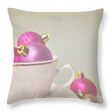 Pink And Gold Christmas Baubles In China Cup. Throw Pillow
