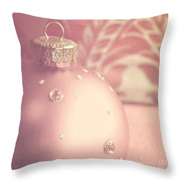 Pink And Gold Ornate Christmas Bauble Throw Pillow