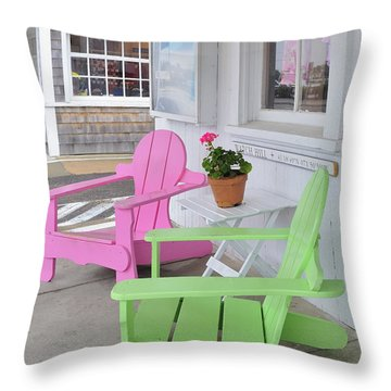 Throw Pillow featuring the photograph Pink And Green Chairs Watch Hill Rhode Island by Marianne Campolongo