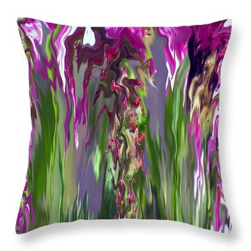 Pink And Green Floral Throw Pillow