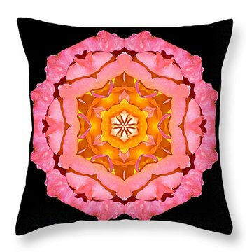 Throw Pillow featuring the photograph Pink And Orange Rose I Flower Mandala by David J Bookbinder