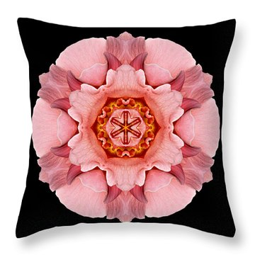 Throw Pillow featuring the photograph Pink And Orange Rose Iv Flower Mandala by David J Bookbinder