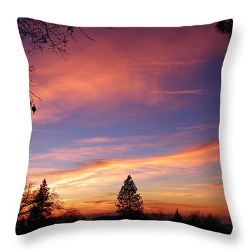 Pink And Orange Throw Pillow by Tom Mansfield