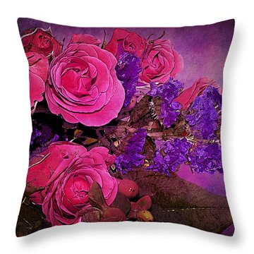 Pink And Purple Floral Bouquet Throw Pillow by Phyllis Denton