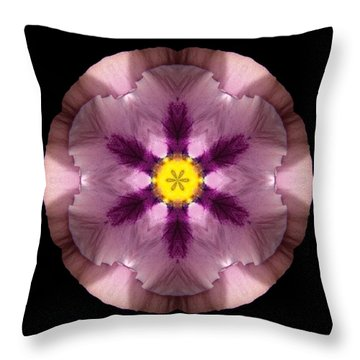 Pink And Purple Pansy Flower Mandala Throw Pillow