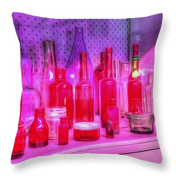 Pink And Red Bottles Throw Pillow by Kaye Menner