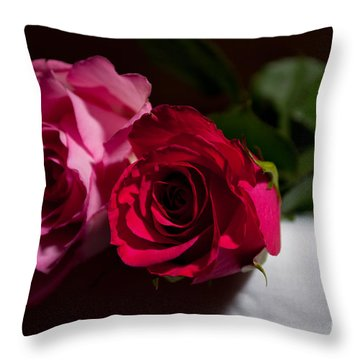Throw Pillow featuring the photograph Pink And Red Rose by Matt Malloy