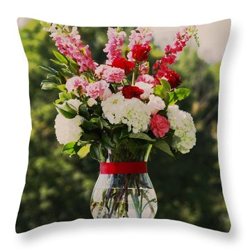 Pink And White Bouquet In Sepia Throw Pillow