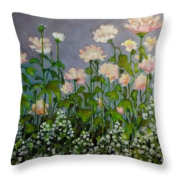 Pink And White Flowers Throw Pillow by Irena Mohr