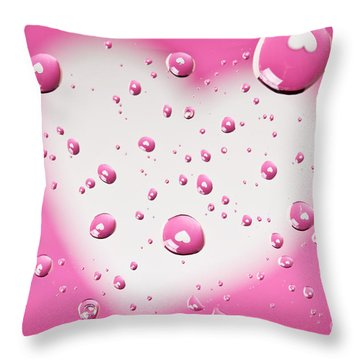 Pink And White Heart Reflections In Water Droplets Throw Pillow by Sharon Dominick