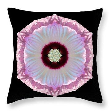 Pink And White Hibiscus Moscheutos Vii Flower Mandala Throw Pillow