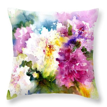 Pink And White Peonies Throw Pillow by Christy Lemp