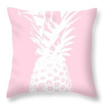 Pink And White Pineapple Throw Pillow