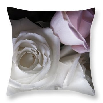 Pink And White Roses Throw Pillow by Jennifer Ancker
