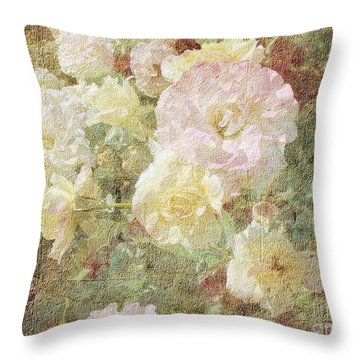 Pink And White Roses With Tapestry Look Throw Pillow