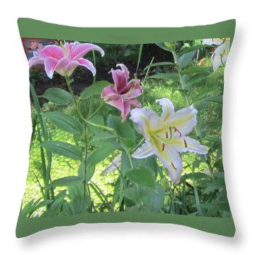 Pink And White Stargazer Lilies Throw Pillow