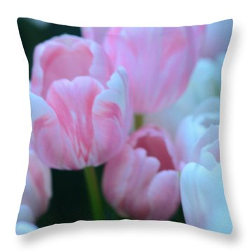 Pink And White Tulips Throw Pillow by Kathleen Struckle