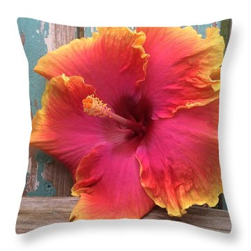 Tropical Pink And Yellow Hibiscus  Throw Pillow