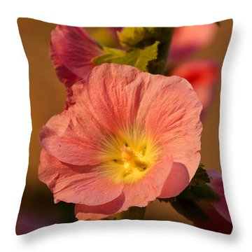 Pink And Yellow Hollyhock Throw Pillow by Sue Smith