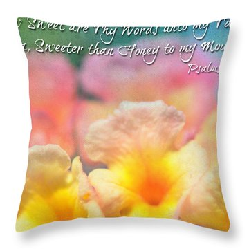 Pink And Yellow Lantana With Verse Throw Pillow by Debbie Portwood