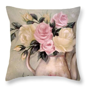 Pink And Yellow Roses In Teapot Painting Throw Pillow