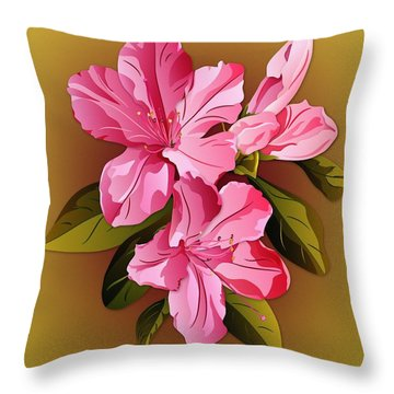 Throw Pillow featuring the digital art Pink Azalea Blossoms by MM Anderson