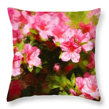 Pink Azealas Throw Pillow