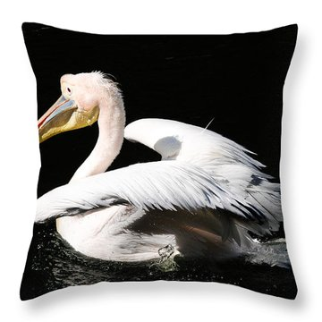 Pink Backed Pelican Throw Pillow by Bonnie Fink