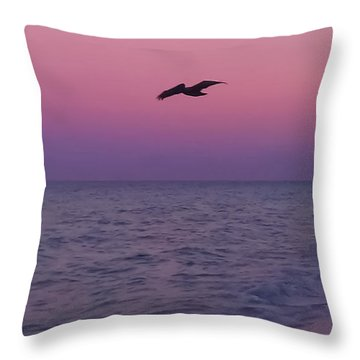 Pink Beach Sunset Throw Pillow