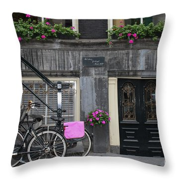 Pink Bikes Of Amsterdam Throw Pillow