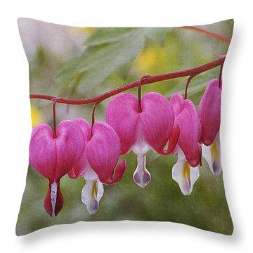 Pink Bleeding Hearts Throw Pillow