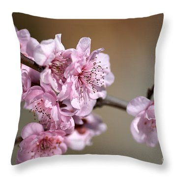 Pink Blossom Throw Pillow by Joy Watson
