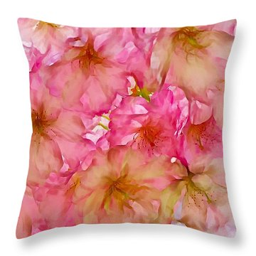 Throw Pillow featuring the digital art Pink Blossom by Lilia D