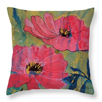 Throw Pillow featuring the painting Pink Blossoms by Robin Maria Pedrero