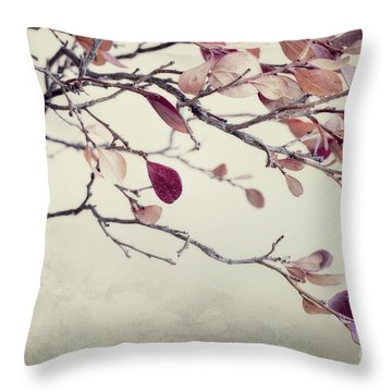 Pink Blueberry Leaves Throw Pillow