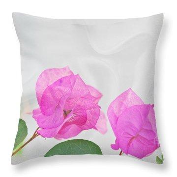 Pink Bougainvillea Flowers On White Silk Art Prints Throw Pillow