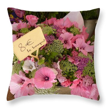 Pink Bouquet Throw Pillow by Carla Parris