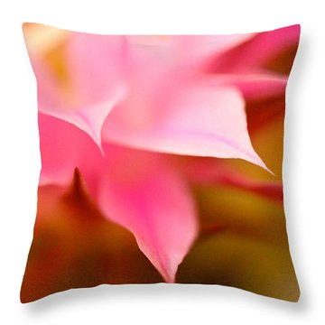 Pink Cactus Flower Abstract Throw Pillow