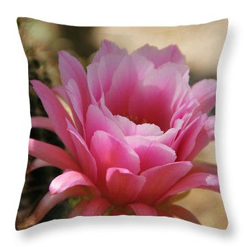 Throw Pillow featuring the photograph Pink Cactus by Tammy Espino