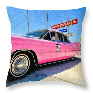 Pink Cadillac Throw Pillow by Liane Wright