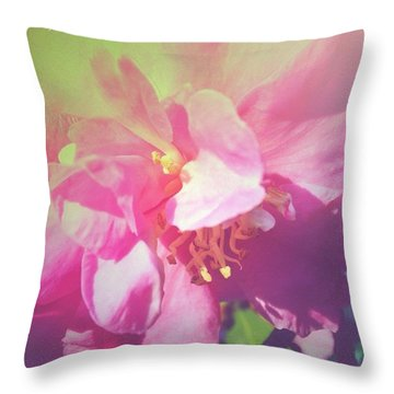 Pink Camellia Vintique Edit Throw Pillow