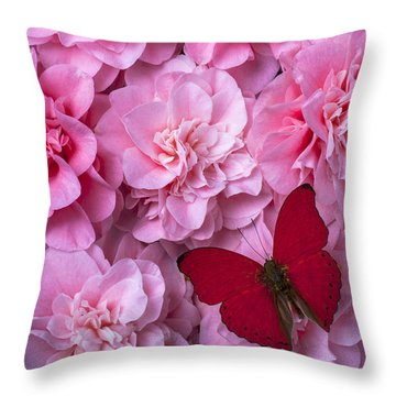 Pink Camilla's And Red Butterfly Throw Pillow by Garry Gay