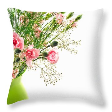 Pink Carnation Flowers Throw Pillow
