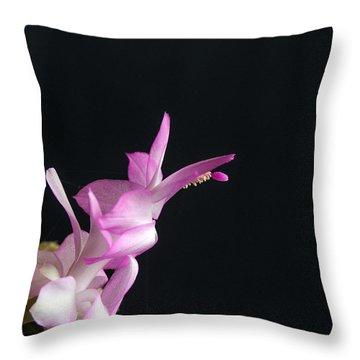 Pink Christmas Cactus Throw Pillow