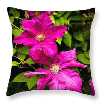 Pink Clematis Throw Pillow by Lena Auxier