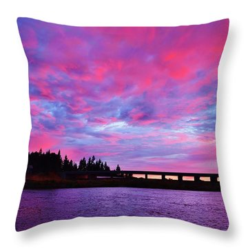 Pink Cloud Invasion Sunset Throw Pillow