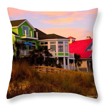 Pink Clouds At Isle Of Palms Throw Pillow by Kendall Kessler