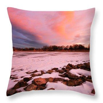 Pink Clouds Over Memorial Park Throw Pillow by Ronda Kimbrow